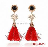 RH-4635 Hot Design Vintage Bohemia Long Red Tassel Drop Earring for Women