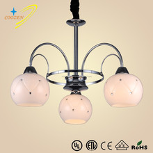 White Color and Traditional Type glass chandeliers metal bending pendant lighting hanging Chandeliers GZ20467-3P