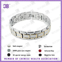 free shipping 2014 Hot Selling silver and gold fashion stainless steel energy balance 5 in 1 magnetic bracelet jewelry