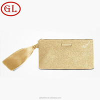 wholesale gold checkered bag with golden ribbon leather cosmetic bag