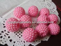 Fashion Bright Pink Chunky 20mm AAA Quality Handmade Resin pearl Rhinestone Ballbeads for Chunky Bead Necklace Wholesales