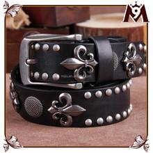Fashion high quality rock wide men genuine leather belts for Hip-Hop