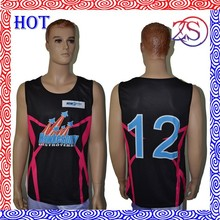 High quality basketball jersey sets cool design reversible basketball uniforms wholesale black/red basketball team wear