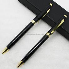 Hot sale promotion black metal pen, luxurious metal ball pen with gift box, promotional pen with logo
