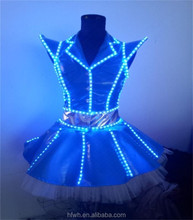 This Year New Design girls Latin dancing performance costume girls one shoulder inclined veil LED stage clothes