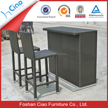 Resin wicker furniture patio bar counter set with high quality