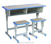 Modern cheap double adjustable student school desk and chair