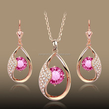 Floating Peach Pink Rhinestone Water-drop Earring and Pendant Jewelry Set