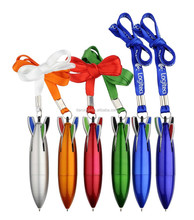 Rocket shaped muti color ball pen with lanyard / lanyard rocket 4 color pen