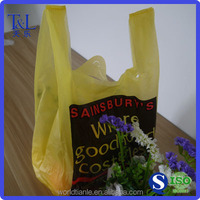 Light yellow one side printing heavy duty t-shirt plastic shopping bag for meat and vegetable packagng