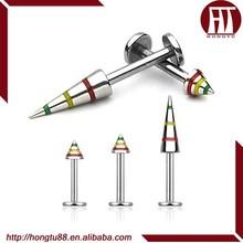 HT 316l Surgical Steel Jamaica Stripe Spike Threaded Lip Piercing Labret Stud Rings