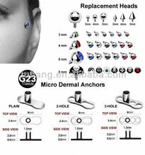 Assorted G23 Solid Titanium Micro Dermal Anchor and Skin Diver Body Piercing Jewelry