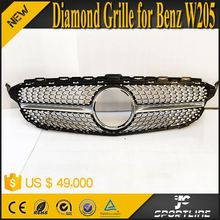 New C-Class W205 Front Mesh Grille for Mercedes Benz W205 C250 C300 C400 C450 AMG Sport 2015 Diamon Style