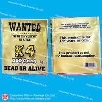 3g K4 aluminum foil packaging bag/herbal incense bag with ziplock