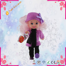Cute Mini Baby Dolls Plastic Educational Kids Toys With Winter Dress