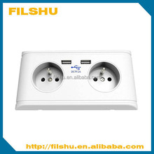 New Europe 220V French Type Schuko Type USB Wall Socket with Earth Contact