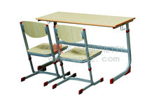 Double Connective School Desk And Bench, Double School Table, Double Student Desk With Bench Chair