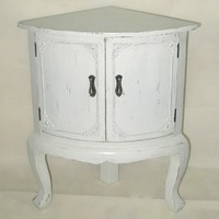 hot sale classical style antique shabby white color short wood storage cabinet