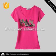 Lady's fashion custom beaded bamboo t-shirts wholesale