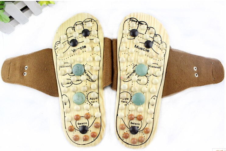 Health care Wooden base acupuncture foot massage slippers for women natural stone acupoint massage slippers free shipping cheap