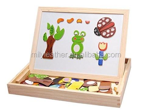 newcreative en bois jouets animaux chevalet doodle planche dessin puzzle tableau noir jouet pour enfants