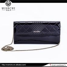 Wishche Guangzhou OEM Factory Custom Logo Women Genuine Leather Ladies Clutch Bags Evening Handbags Sale Long Chain Bag W124