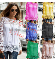 Fashion new women clothes tops loose perspective sexy engraving flower long sleeve lace blouse