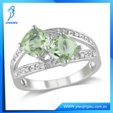 Green Amethyst and Diamond Accent Sterling Silver Ring