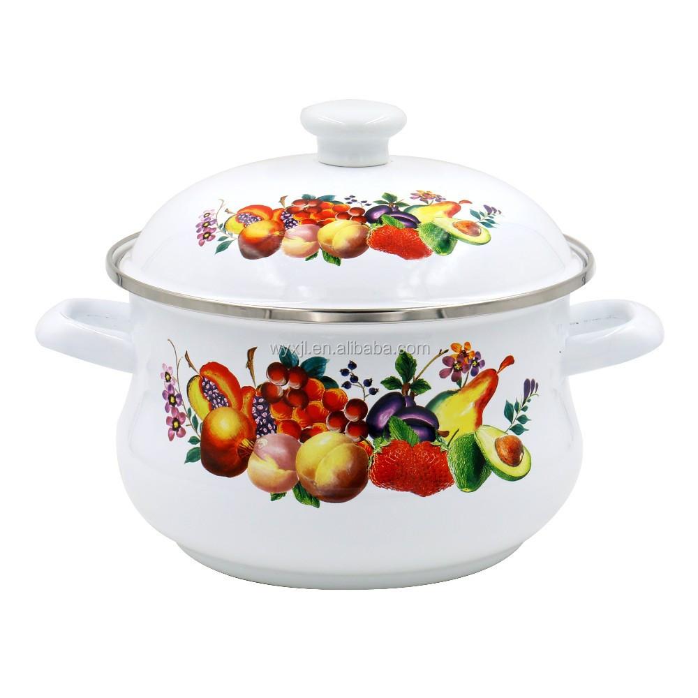 Hot Sale High Quality Full Decal Porcelain Enamel Cast Iron Pot