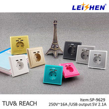 Hot selling EU power wall Sockets outlets with 2*USB ports,wall plate socket,wall mount power