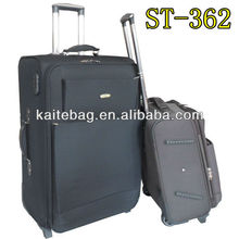 2012 new style bags trolley with cheap design nylon twill fabric brown and black color two wheels