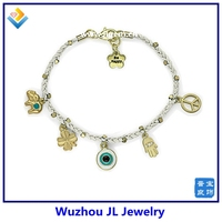 Wholesale White Rope Korean Shambala Style Hamsa Hand And Blue Evil Eye Auspicious Bracelet
