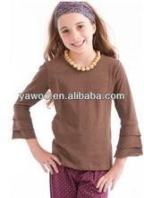 wholesale baby girls blank plain tshirt for girls ruffle long t shirt baby girls clothing for kids triple ruffle shirts