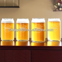 Customize design tin shaped beer glass cups can shape glass mug for drinking beer wheat beer glass