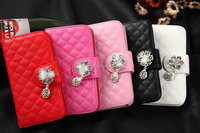factory price luxury Diamond wallet flip leather cover case for iPhone 5 5S
