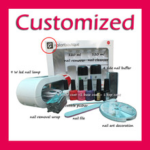 Put your logo make your own brand uv nail gel kit with lamp