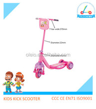 Factory manufacturer plastic big pipe 3 wheel pedal scooter kids foot scooter with bag