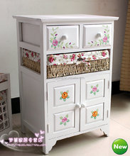 Modern living room furniture white painted colored painted solid wood cabinet with drawers and weaving baskets