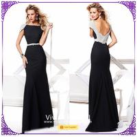 Long evening trumpet dress for mature women with beading stones sleeveless TK03