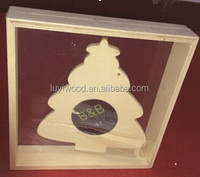 wooden table decoration pine tree shape pendant photo frame