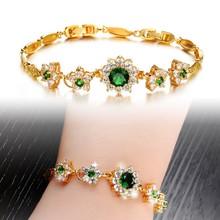 22k gold plated emerald zirconia bracelet