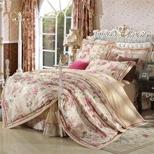 Luxury applique work cotton home wedding bed sheet