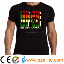 Hottest! Wholesale factory price music active party led flash t-shirt