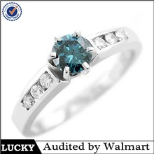 Sterling silver 14k fake diamond ring blue diamond color jewelry