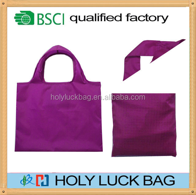 EcoJeannie Super Strong Ripstop Nylon Foldable Reusable Bag Grocery Shopping Tote Bag with Built-in Pouch HL-PB091