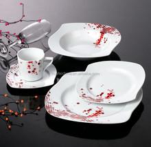Hotel louça cerâmica conjunto de porcelana porcelana tigela e prato de porcelana quadrado