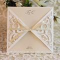 2014 barato de marfil del corte del laser de encaje de invitaciones de boda