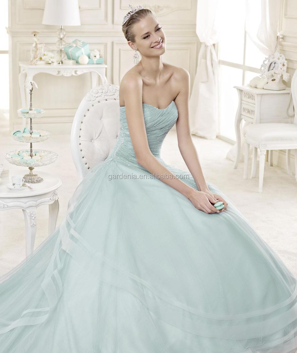 Blue Wedding Dress Simple : Simple tulle ice blue wedding dress zx buy