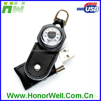 Leather with Compass Always be South Usb Flash Drive for Field Action