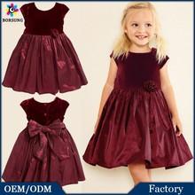 Autumn\Winter Children Frocks Designs Baby Clothes Sweet Deep Velvet Free Prom Party Princess Wedding Dresses